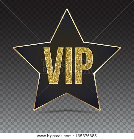 Black five-pointed star with Golden edging and the inscription VIP. Sign of exclusivity on trasparent background. Template for vip banners or card, exclusive certificate, luxury voucher