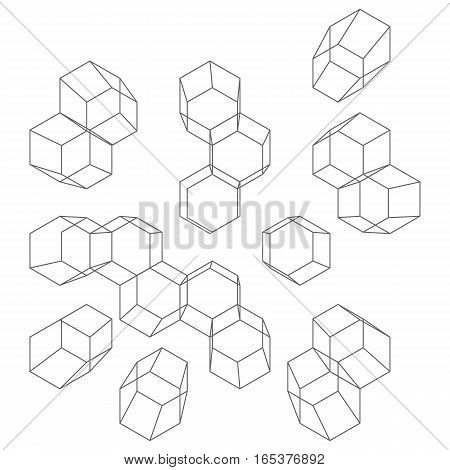 Vector abstract background with cube cell. Modern technology illustration with square mesh. Digital geometric abstraction with lines.
