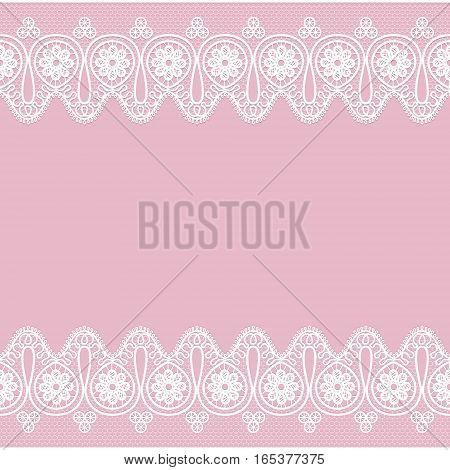 Pink background with white lace pattern borders