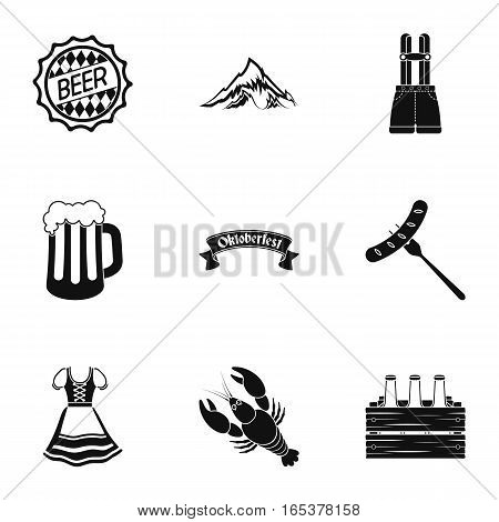 Oktoberfest set icons in black style. Big collection of Oktoberfest vector symbol stock