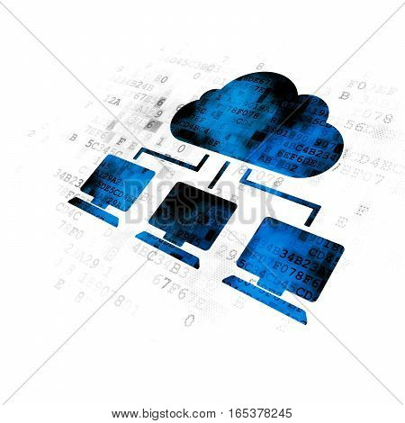 Cloud computing concept: Pixelated blue Cloud Network icon on Digital background