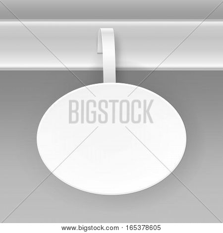 Vector Blank White Round Oval Papper Plastic Advertising Price Wobbler Isolated on Background