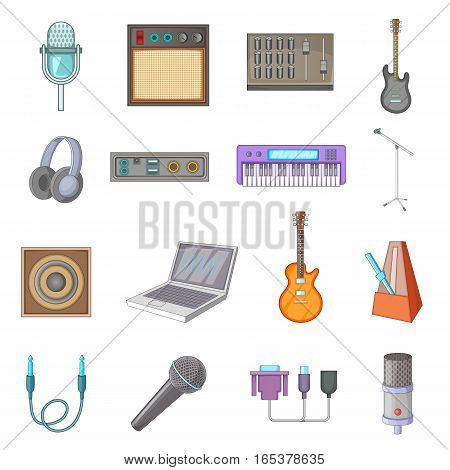 Recording studio icons set. Cartoon illustration of 16 recording studio vector icons for web