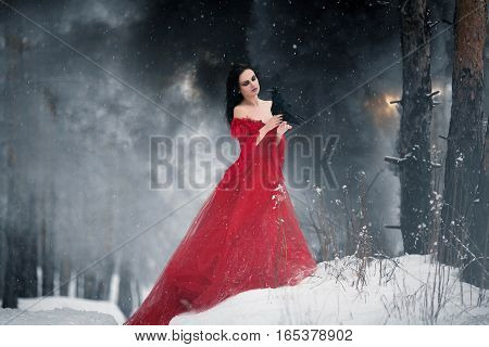 Woman witch in red dress and with raven in her hands in snowy forest. Her long dress lying on snow and she looks at raven. Around snowing and snowflakes fall on hem of her dress.