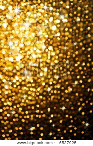 Abstract golden background of sparkling Christmas lights