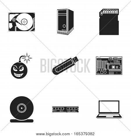 Personal computer set icons in black style. Big collection of personal computer vector symbol stock