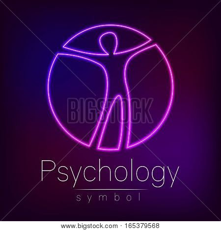 Neon Logo Modern man Sign of Psychology. Human in a circle. Creative style. Icon in vector. Design concept. Brand company. Violet color isolated on blur background. Symbol for web, print, logotype.