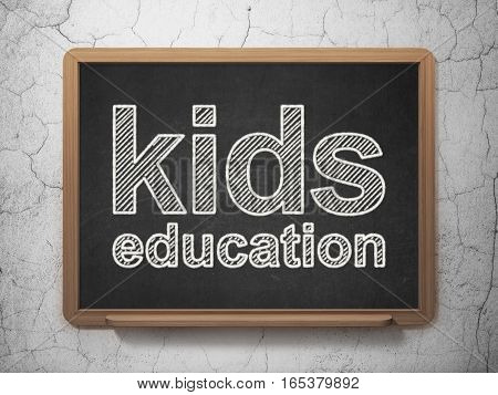 Studying concept: text Kids Education on Black chalkboard on grunge wall background, 3D rendering