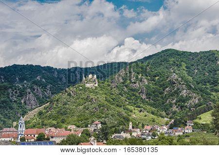 Landscape picture of Dürnstein in Danube valley in spring