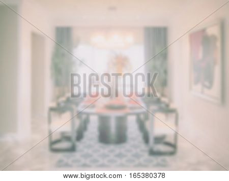 Defocus image of dining table in dining room