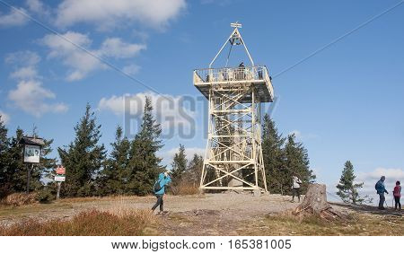 Wisla, Poland - October 23, 2016: Barania Gora Tower On 23 Octob