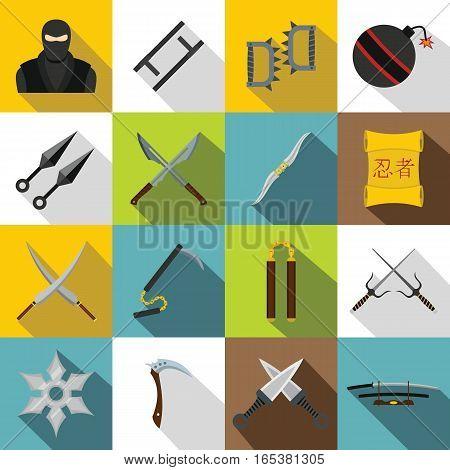 Ninja tools icons set. Flat illustration of 16 Ninja tools vector icons for web
