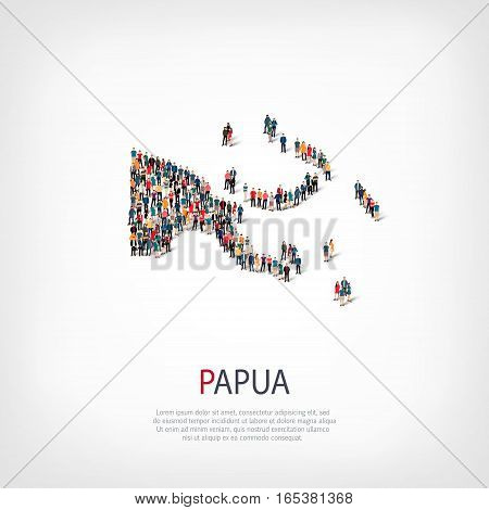 Isometric set of styles, people, map of Papua New Guinea , country, web infographics concept of crowded space, flat 3d. Crowd point group forming a predetermined shape. Creative people. Vector illustration. Photo vector.3D illustration. White background .