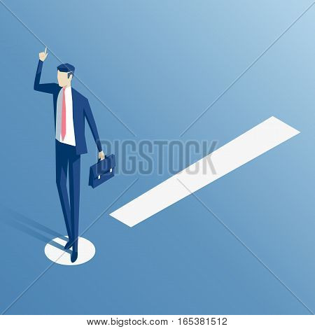 Employee standing on white exclamation mark isometric vector illustration. Business concept attention and caution