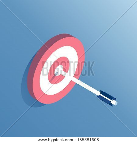 The arrow hit the center of the target isometric vector illustration. Business concept
