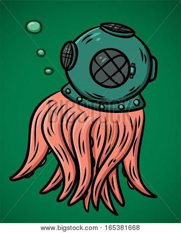 Octopus Wearing Diving Helmet Cartoon Character. Vector Illustration.