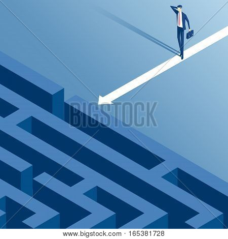 Puzzled businessman standing in front of the entrance to the maze isometric illustration. The business concept of obstacle and difficult way to success