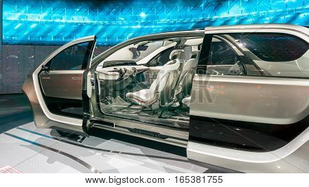 DETROIT MI/USA - JANUARY 15 2017: A Chrysler Portal Concept minivan interior at the North American International Auto Show (NAIAS).