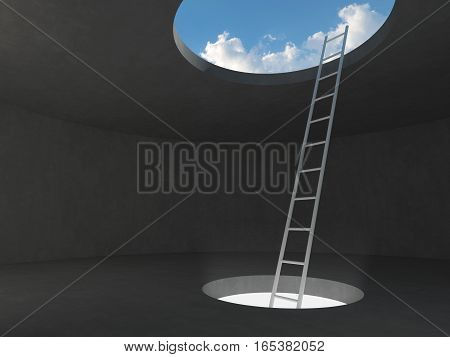 Ladder out of the light hole space on floor up to the sky on dark concrete room. 3D rendering illustration.