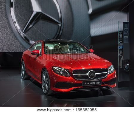 DETROIT MI/USA - JANUARY 10 2017: A 2017 Mercedes E400 car at the North American International Auto Show (NAIAS).
