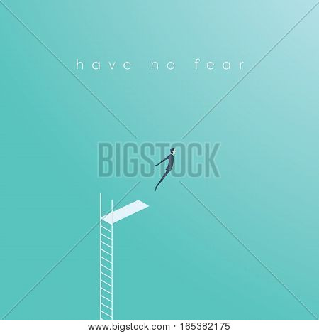 Business concept of courage, challenge, risk taking with businessman vector illustration jumping. Ep10 vector.