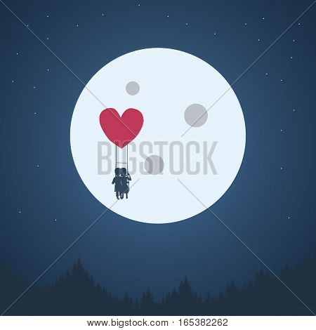 Valentine's day romantic background. Boy and girl cute adorable couple in love flying with heart shape balloon at night under moon. Valentine card wallpaper. Eps10 vector illustration.