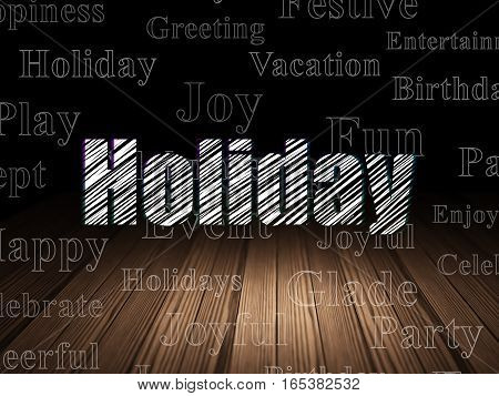 Holiday concept: Glowing text Holiday in grunge dark room with Wooden Floor, black background with  Tag Cloud