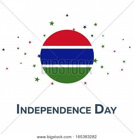Independence Day Of Gambia. Patriotic Banner. Vector Illustration.