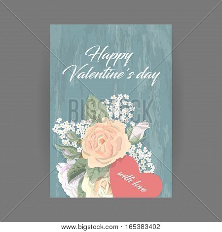 Bouquet of pink roses and heart for vintage vertical greeting card on wooden turquoise background. Romantic floral card valentines day, birthday, vector illustration