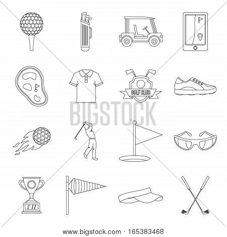 Golf items icons set. Outline illustration of 16 golf items vector icons for web