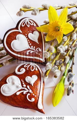 Traditional Czech easter decoration - homemade gingerbread hearts cakes with pussycats and daffodils flowers on white background. Spring easter holiday arrangement.