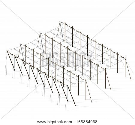 Hop-garden landscape in spring. Construction of beams and wires for growing hops. Agriculture landscape. Garden hops care constructions in rows. Hop garden farm field. Husbandry vector illustration.