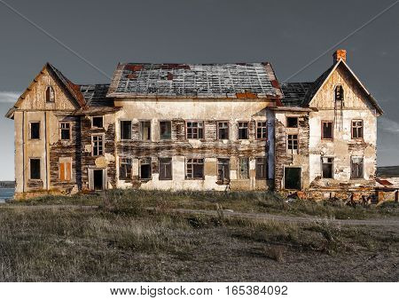Old, abandoned ruined house to be demolished.
