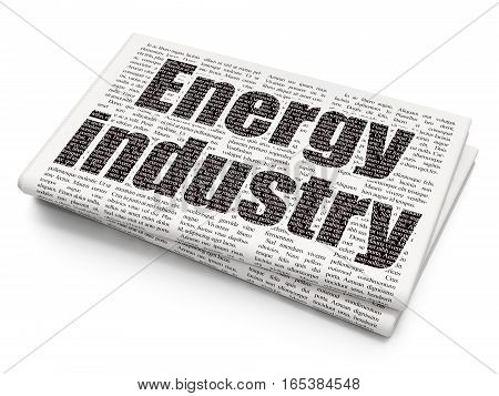 Industry concept: Pixelated black text Energy Industry on Newspaper background, 3D rendering