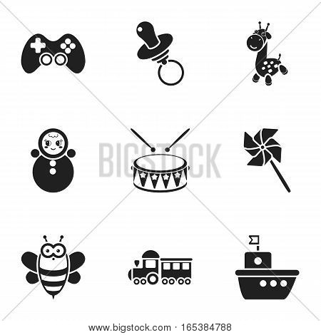 Toys set icons in black style. Big collection of toys vector symbol stock