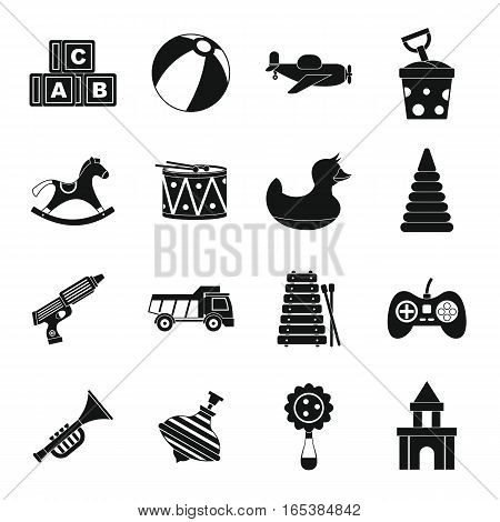 Different kids toys icons set. Simple illustration of 16 Different kids toys vector icons for web