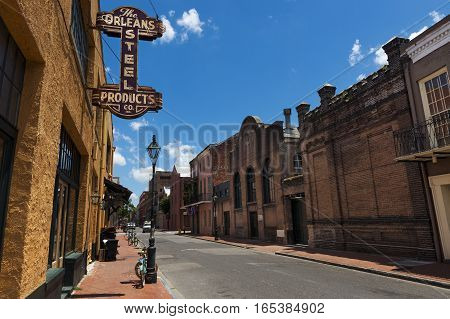 New Orleans Louisiana USA - June 17 2014: View of a street in the French Quarter in the city of New Orleans Louisiana.