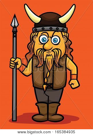 Viking with Spear in Standing Pose Cartoon Character. Vector Illustration.