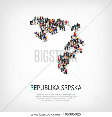 Isometric set of styles, people, map of Republika Srpska, country, web infographics concept of crowded space, flat 3d. Crowd point group forming a predetermined shape. Creative people. Vector illustration. Photo vector.3D illustration. White background .