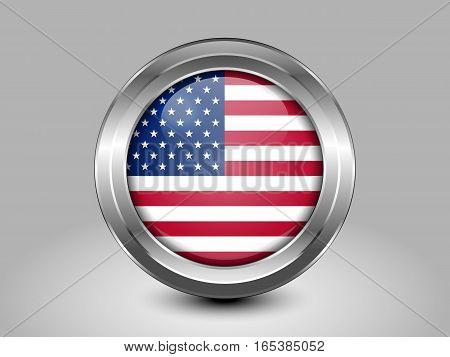 Flag Of United States Of America. American Flag. Metal And Glass Round Icon