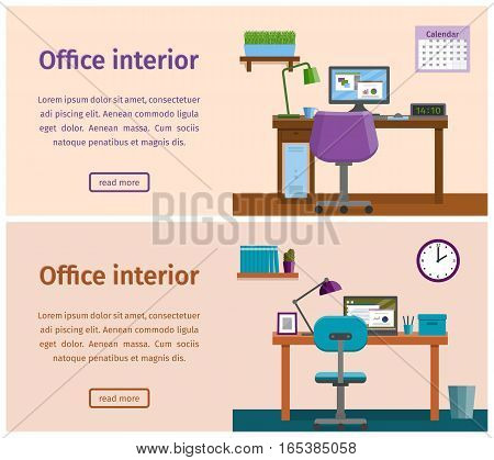 Office interior with furniture - desk computer laptop. Workplace workspace design in flat style. Vector horizontal banners of business theme.