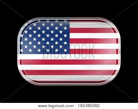 Flag Of United States Of America. American Flag. Rectangular Shape With Rounded Corners