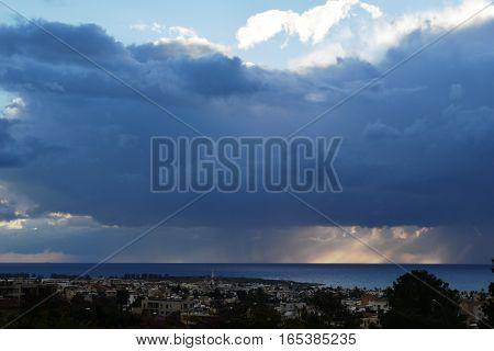 Thunderstorm above Mediterranean sea in Pathos,  Cyprus
