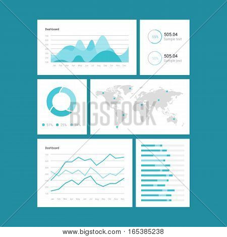 Infographic dashboard template with flat design graphs and charts. Processing analysis of data. eps jpg