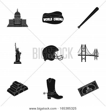 USA country set icons in black style. Big collection of USA country vector symbol stock