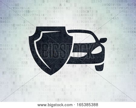 Insurance concept: Painted black Car And Shield icon on Digital Data Paper background