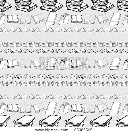 Seamless vector doodle pattern with books. Library hand drawn sketchy background. Reading and education concept. Black and white illustration.