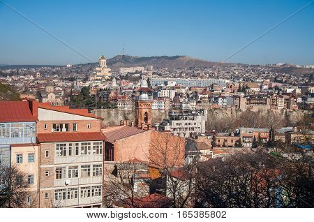 City landscape, orthodox church and mosque. Tbilisi