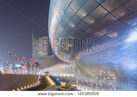 Seoul, South Korea - March 29,2015: Dongdaemun Design Plaza At Night, New Development In Seoul, Desi