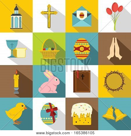 Easter items icons set. Flat illustration of 16 Easter items vector icons for web
